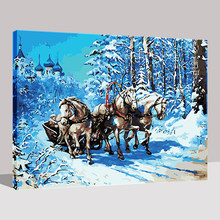 DIY Pictures By Numbers Drawing Acrylic Winter Castle Driving White Horse Oil Painting On Canvas Kits HandPainted Wall Decor(China)