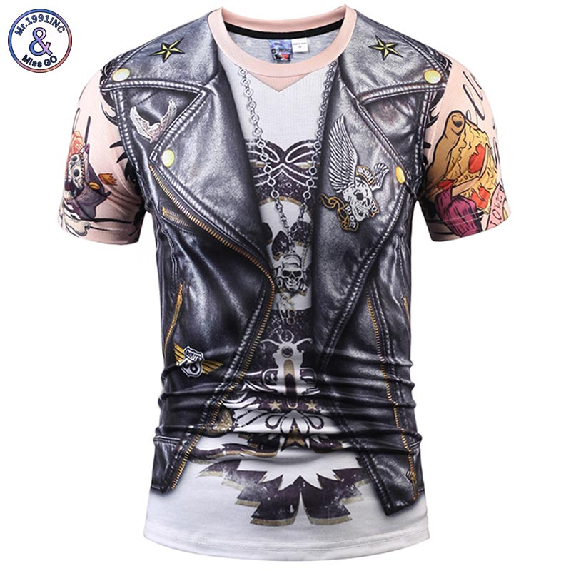 Mr.1991INC Designer Stylish 3d T-shirt Men/Women Tops Print Fake Leather Jacket T shirt 3d Summer Tees Shirts