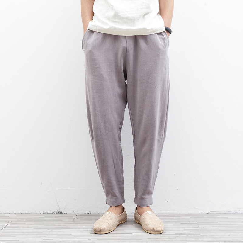 M-2XL!!!Chinese style vintage fluid elastic trousers loose linen male casual pants  lantern