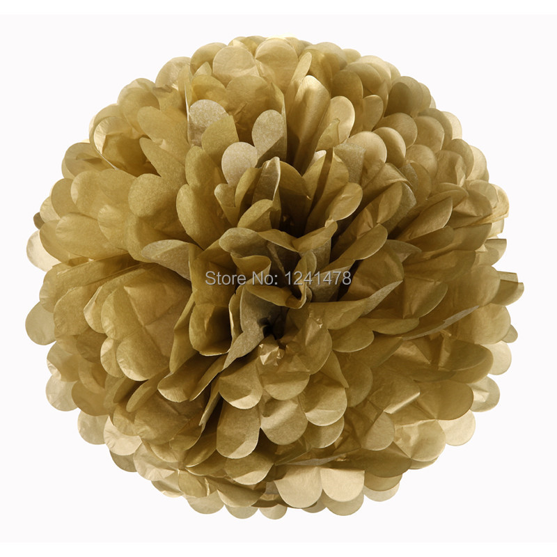 "14"" (35cm) 5piece/lot Gold Tissue Paper Pom Poms Flowers Balls Party Decorations For Wedding Birthday Baby Shower Decor"