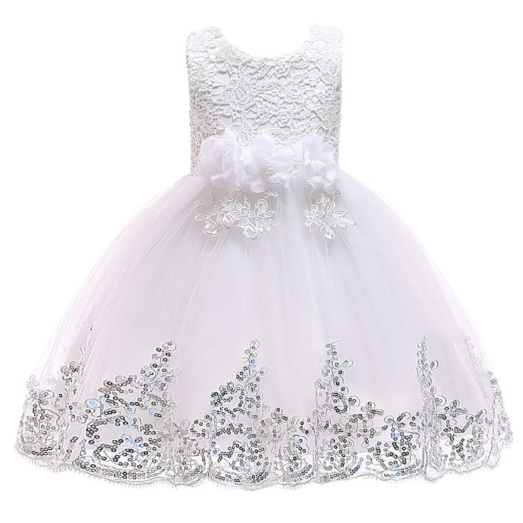 5240 Sequins Flower Embroidery Princess Baby Girl Dress Summer Wedding Party Kids Dresses For Girls Wholesale baby girl clothes