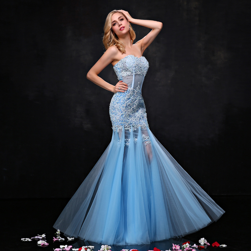JaneVini 2019 Blue Mermaid Girls Prom   Dress   Beaded See Through Tight Fitted Lace Tulle Wedding Party Long   Bridesmaids     Dresses