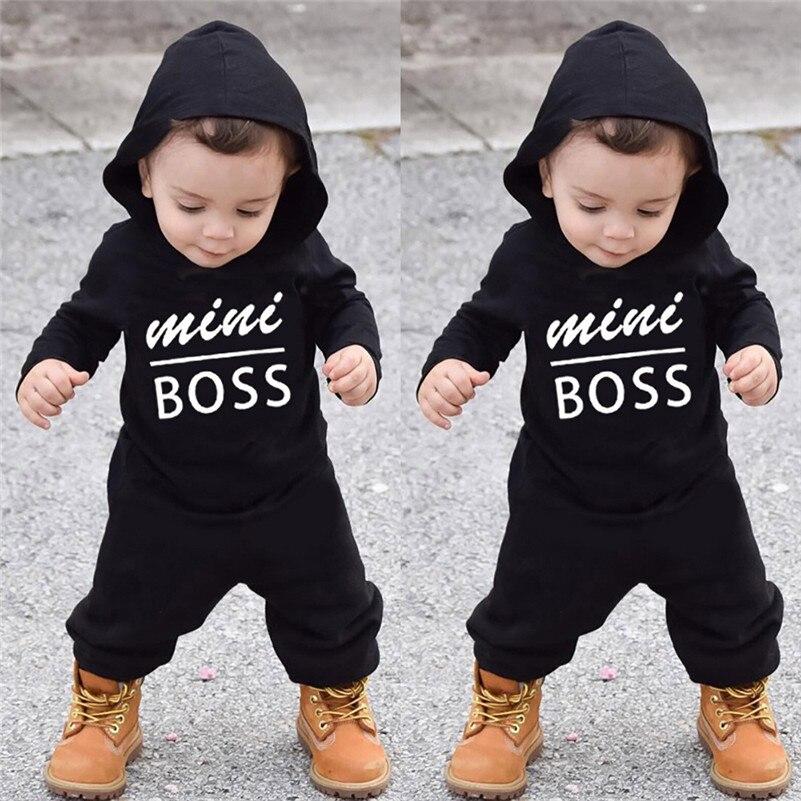 Winter 2018 kinder kleidung neue stil Kleinkind Kinder Baby Brief Jungen Mädchen Hoodie Outfits Kleidung Romper Overall Set für baby QC3