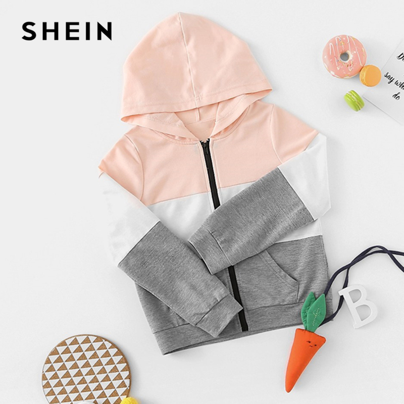SHEIN Kiddie Toddler Girls Cut And Sew Zipper Up Hoodie Jacket Coat Kids Clothing 2019 Spring Colorblock Pocket Casual Jackets