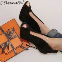 DEleventh 2018 Europe Star Fashion Designer Shoes Women Peep Toe Stiletto High Heels Pumps V Mouth Cutouts Slip on Boots Black