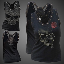 ZOGAA 2019 summer new women vest gothic street casual skull print sexy top streetwear Plus Size XS-5XL