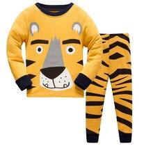 Купить с кэшбэком Kids Pajamas Sets boys tiger pattern night suit Children cartoon Sleepwear Boys Pyjamas kids 100% Cotton nightwear size 3-8Y