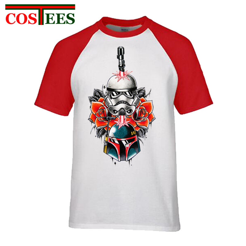 Elegent Floral print mens T-shirt JEDI Lightsaber In Star War Soldier Mask With Flower Tattoo Design T shirt men darth vader Tee
