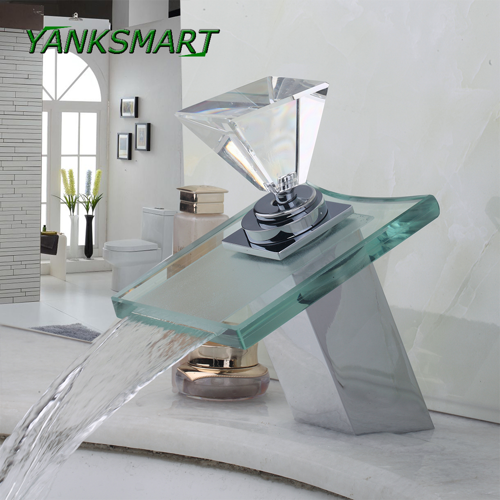 YANKSMART Diamond handle Square glass Bathroom Deck Mount Waterfall Brass Basin Sink Faucet Tap Chrome polish