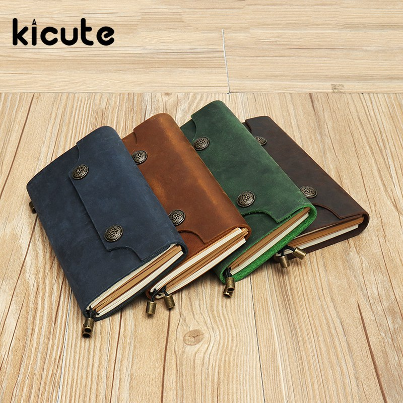 Kicute 1pcs Genuine Leather Notebook Travelers Journal Agenda Handmade Planner Notebooks Vintage Diary Sketchbook Supplies ootdty vintage classic journal notebook diary sketchbook thick blank page leather cover 1 pcs