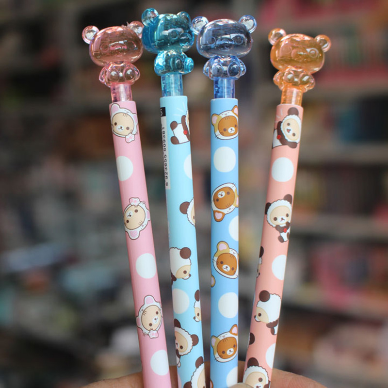 Cute Kawaii Cartoon Crystal Bear Mechanical Pencil Automatic Pens For Kids Gift School Supplies Student 3527