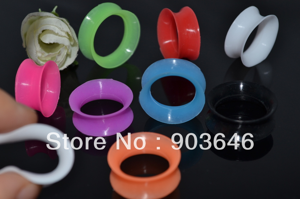 Lot 96pcs Body Piercing Body Jewelry -Colorful Soft Lightweight Silicone Ear plug Ear Tunnels 12mm-22mm image