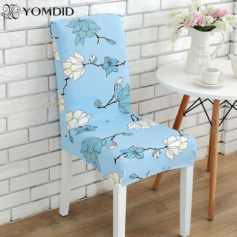 2pcs Dining Room Chair cover Spandex Elastic Printing Chair Cover Removable Dustproof Hotel Wedding Banquet Decor Chair Cover