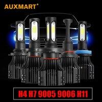 Auxmart S5 H1 H3 H4 H7 H11 COB LED פנס 8000lm 72 w 6500 K הנורה רכב שפתוחה טבל פנס ערפל קורה גבוה All-in-one 9005 9006 9007