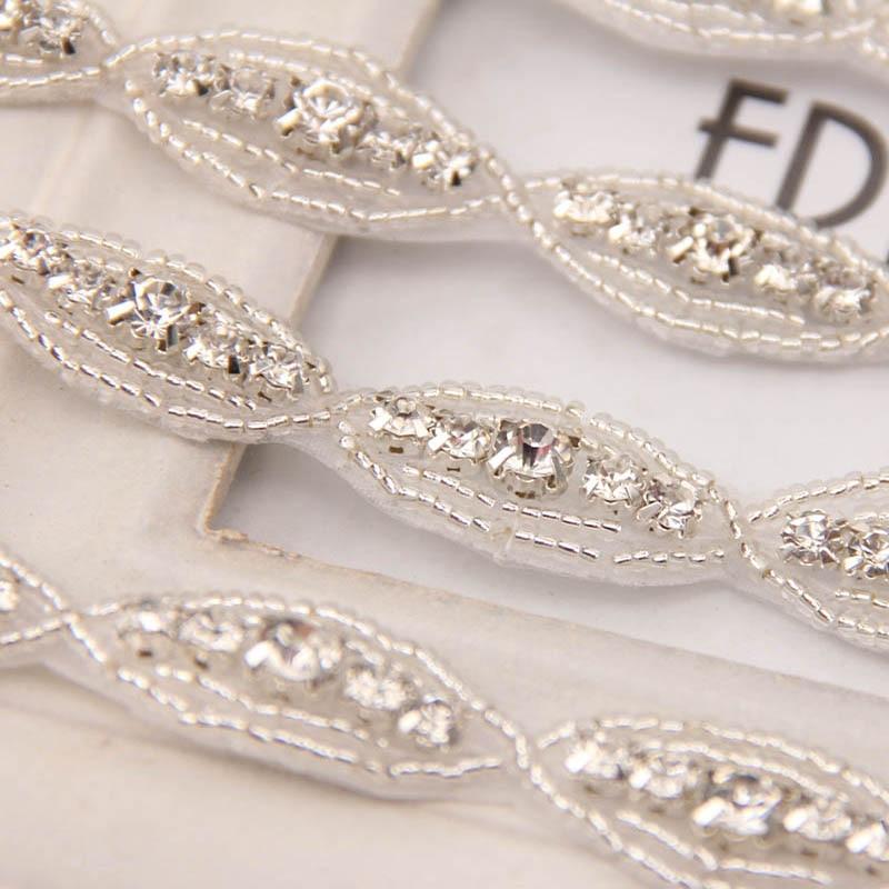 Crystal Rhinestone Beaded Trims Fashion Bridal Wedding Costume Applique Hairband Sash Waitsband Belt Hat Decoration 1yard=31pcs
