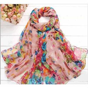 Fashion Pastoral Style Scarves Women Soft Silk Blend Floral Print Scarf Wrap Women Pretty Elegant Accessories Scarves