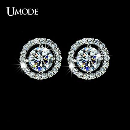UMODE Hearts & Arrows cut Top Quality 0.75 carat AAA+ CZ Stone Stud Earrings for Women Brincos Oorbellen Boucle D'oreille UE0012