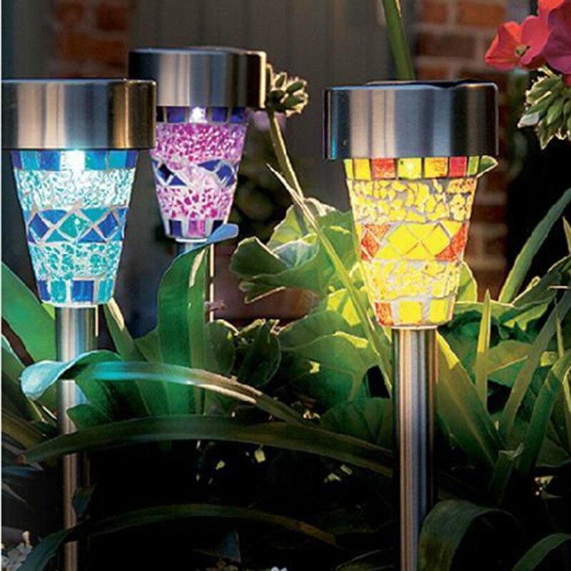 5pcs Colorful Mosaic Led Solar Light Waterproof Stainless Steel Garden Light  Lawn Yard Garden Path Way