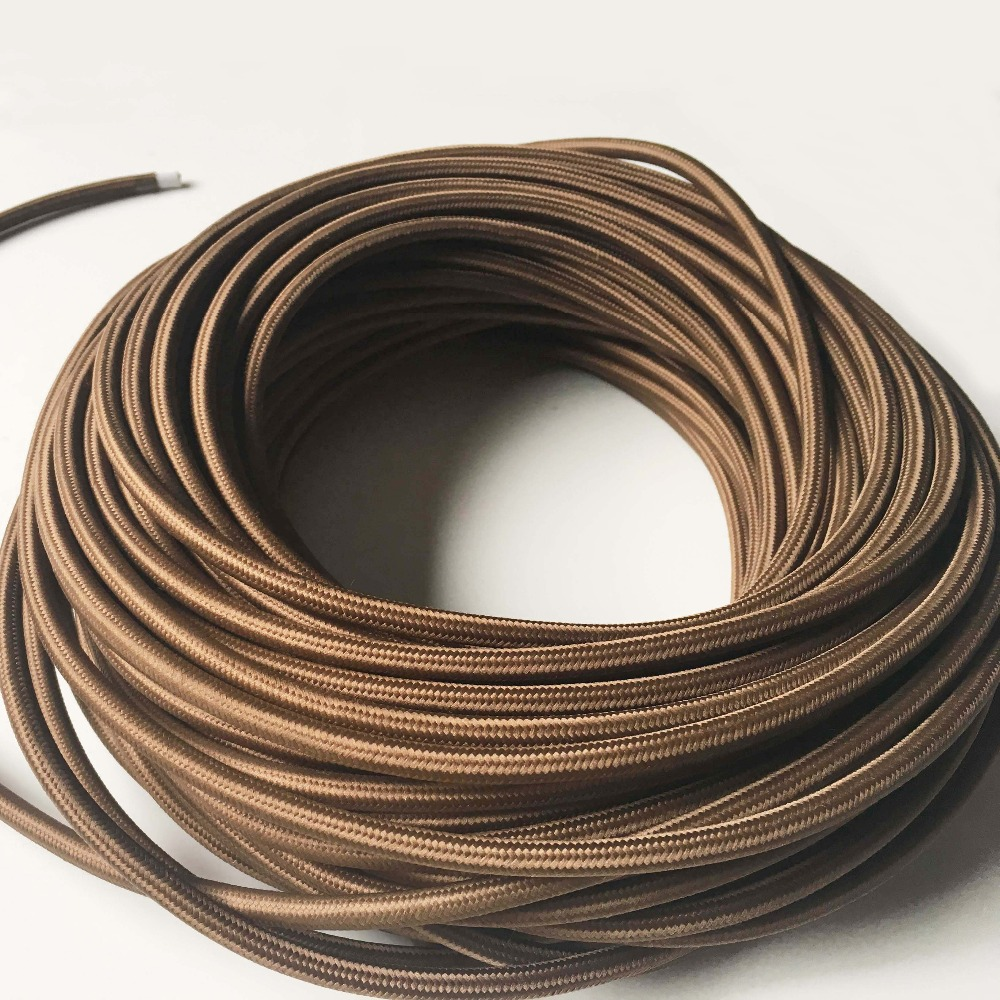3x0.75mm2 Vintage Lamp Cord Knitted Cloth Braided Retro Copper ...