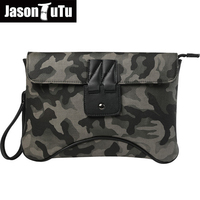 JASON TUTU Messenger Bag Men Leather Camouflage Shoulder Bags Male Famous Brand Design Clutch Crossbody Bags