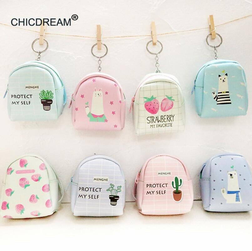 Pink Mini Genuine Leather Keychain Keyring Purse Decor Floral Handmade Cute Bag