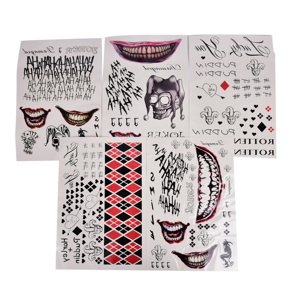Joker Temporary Cosplay Tattoos Suicide Squad Costume Halloween Temporary Tattoo Stickers 20*30cm