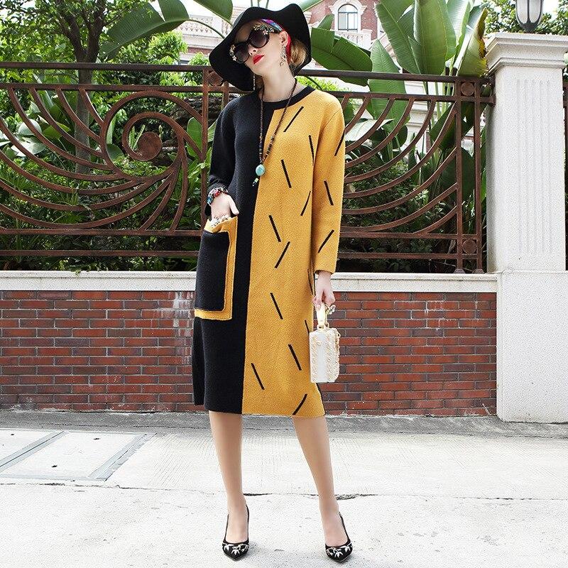 Patchwork Vintage Summer Spring Dresses Women 2018 Elegant O Neck Long Sleeve Cotton Party Knee Length