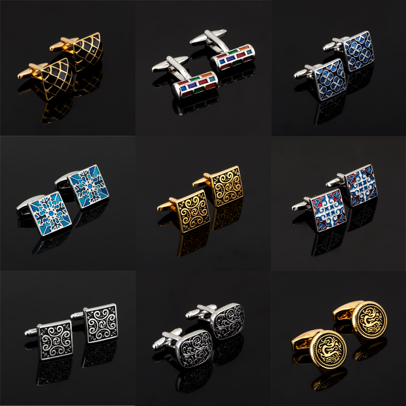 Luxury shirt Christmas day gift pattern cufflink for mens Brand cuff buttons classic cuff links High Quality abotoaduras Jewelry