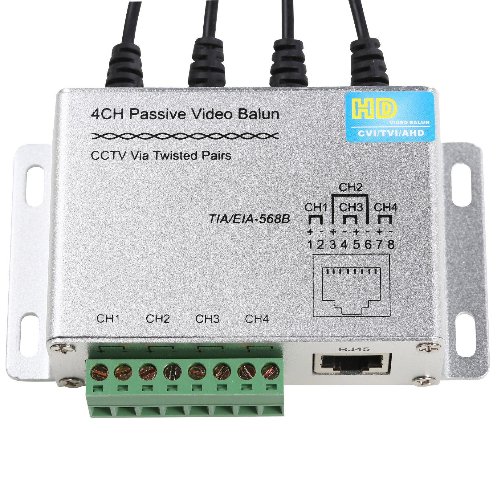 4CH HD CVI/TVI/AHD Passive Video Balun BNC Male RJ45 UTP CCTV Via Twisted Pairs press fitterminal upside the balun for easier installation color video hd cvi tvi 720p up 300m with passive receiver