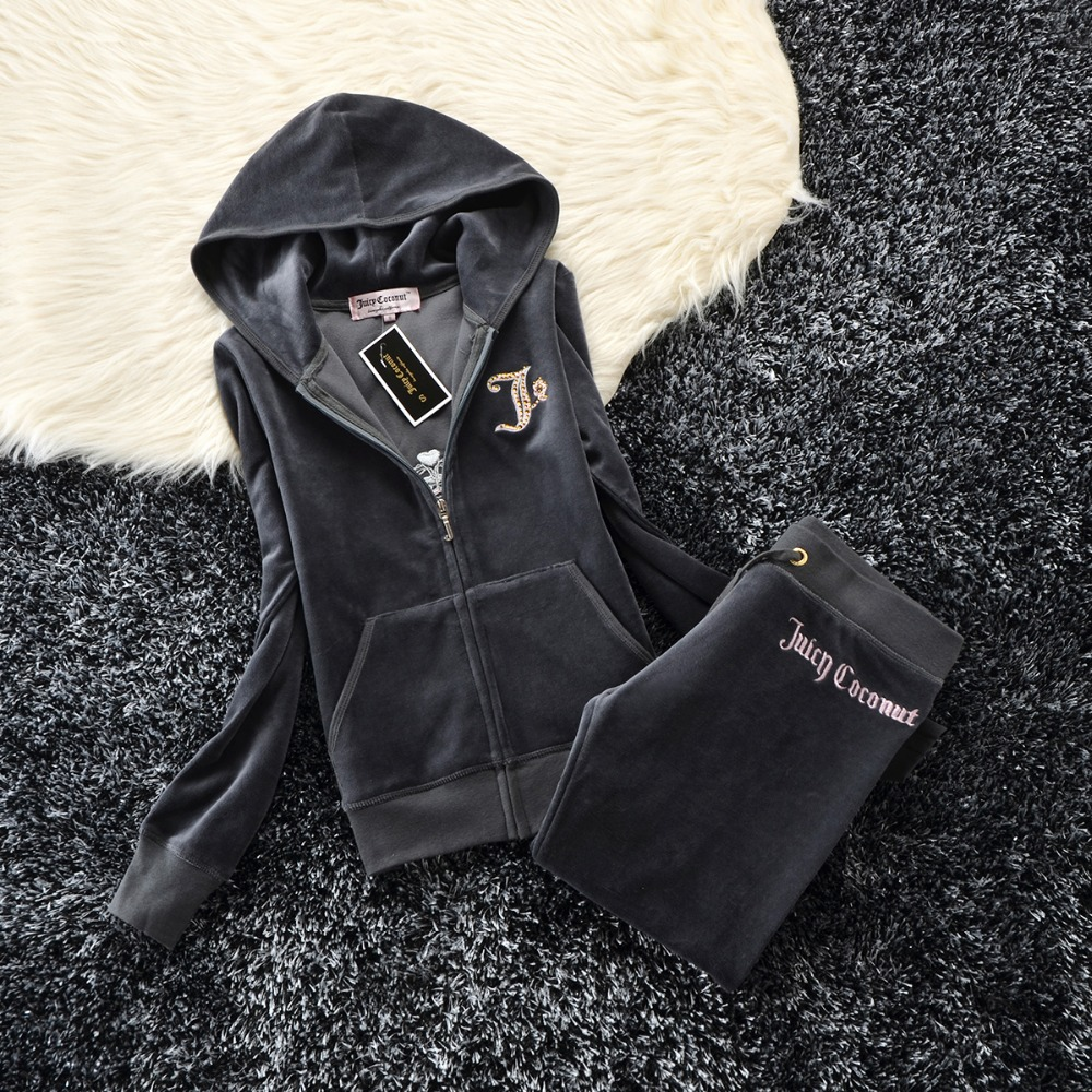 Spring / Fall 2019 Women'S Brand Velvet Fabric Tracksuits Velour Suit Women Track Suit Hoodies And Pants Size S - XXL