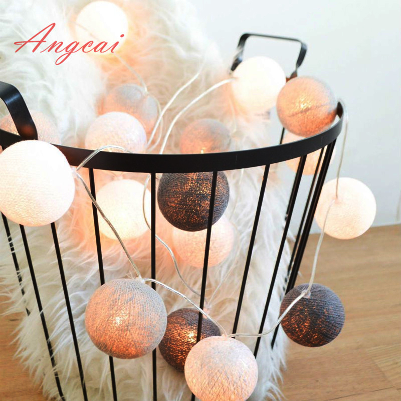 Thai Style Cotton Ball String Lights Fairy ,wedding Christmas Patio Decor Nursery Lamp Thailand Handwork Battery  AC Plug In