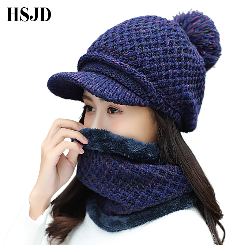Winter Warm Fur Ball Caps Women Knitted Hat Skullies Beanies Thick Lady Snapback