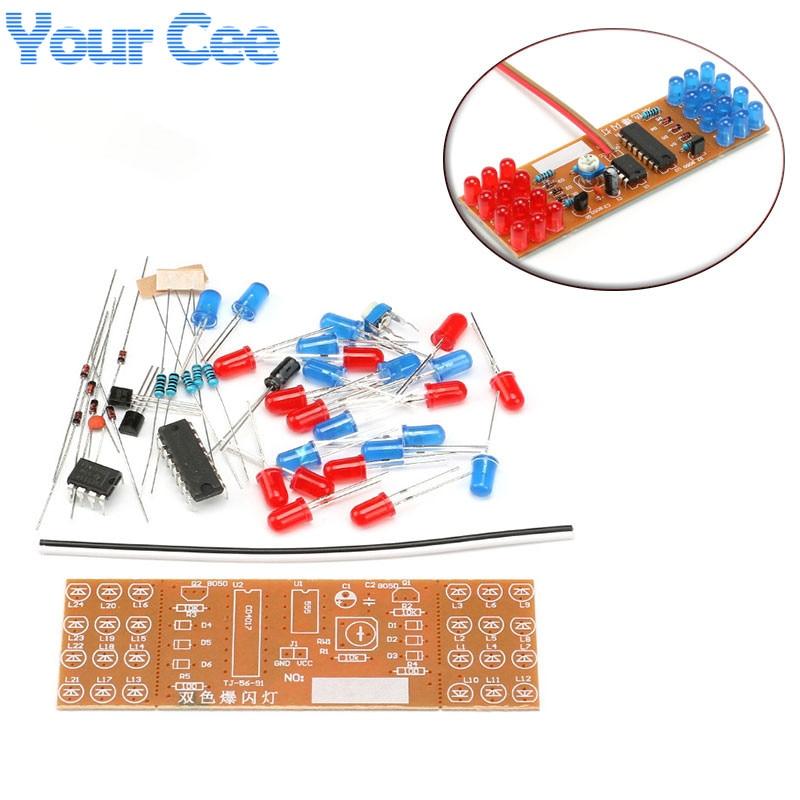 1 Pc Rot Blau Doppel Farbe Blinkende Lichter Kit Strobe Ne555 + Cd4017 Praxis Lernen Diy Kits Elektronische Suite Design
