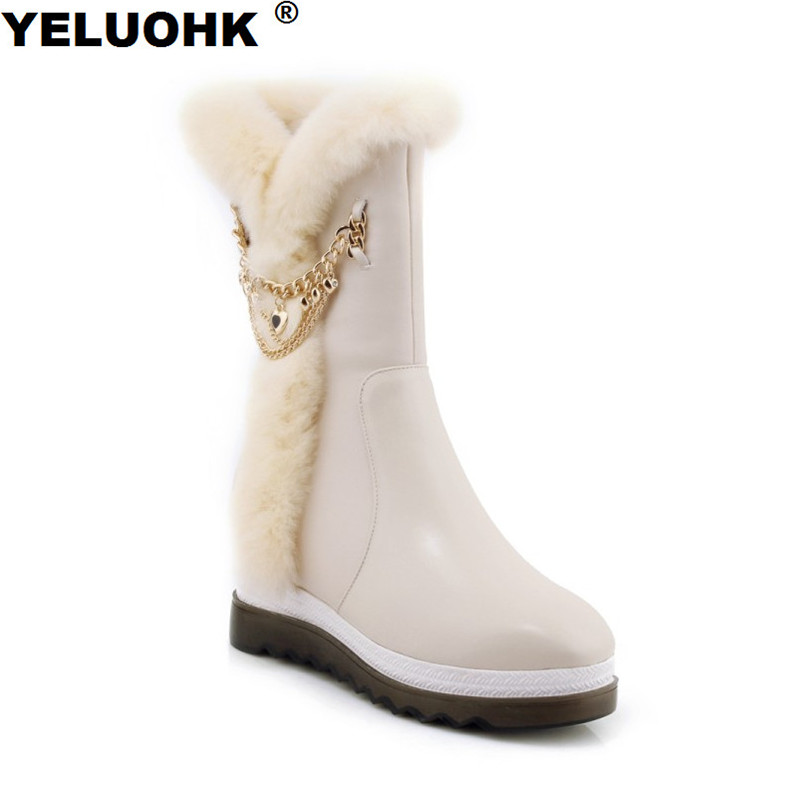 New Genuine Leather Boots Women Winter Shoes Fashion Chains Wedge Boots Women High Snow Boots Waterproof Female Winter Boots whensinger 2017 new women fashion boots genuine leather fashion shoes rubber sole hands sewing 2 color 7126
