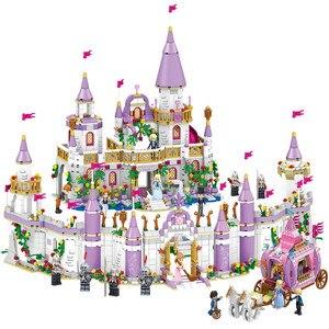 Nouveaux amis princesse Windsor château et chariot bricolage modèle blocs de construction Kit jouets fille anniversaire cadeaux de noël(China)