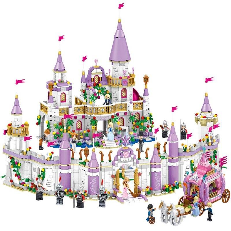 Novos amigos princesa windsor castelo e carruagem diy modelo blocos de construção kit brinquedos menina aniversário legoinglys presentes de natal