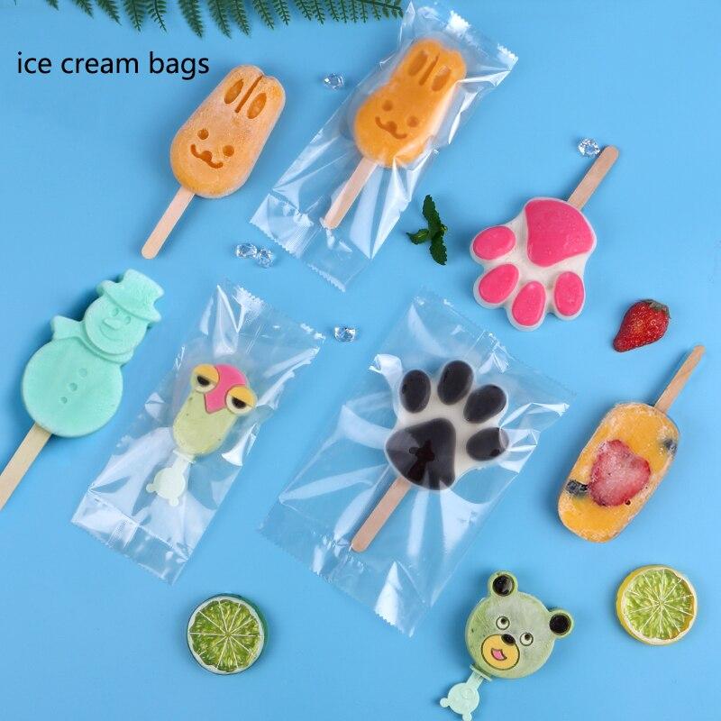 100PCS lot Plastic ice cream popsicle bags Transparent Popsicle Bags Wooden Sticks Ice Pop Fridge Frozen Ice Cream Storage Bags in Ice Cream Sticks from Home Garden