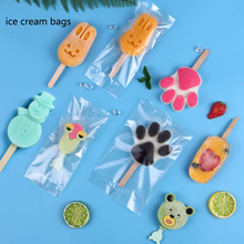 100PCS/lot Plastic ice cream popsicle bags Transparent Popsicle Bags Wooden Sticks Ice Pop Fridge Frozen Cream Storage