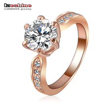LZESHINE Wedding Jewelry Ring Rose Gold Silver Color Round AAA Zircon Women Finger Ring Wholesale anel