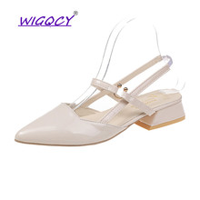 New Pointed Toe Riband sandals women 2019 summer shoes women Sexy Fashion Buckle Strap Square heel Patent Leather female shoes недорого