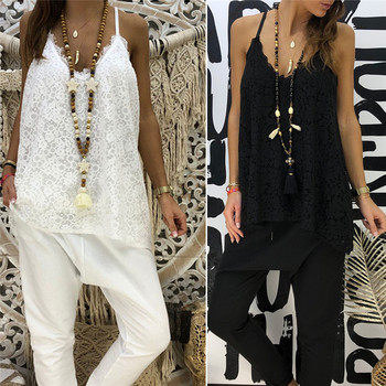 Sexy Women White Lace Print Sling Vest Top Summer Loose V-Neck Cami Tank Camisole Shirt Spaghetti Strap Shirt tee tops flower print double v neck cami top