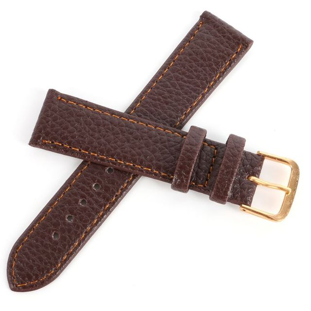 Black Brown High Quality Watchband Soft Litchi Stripe PU Leather Watches Strap P