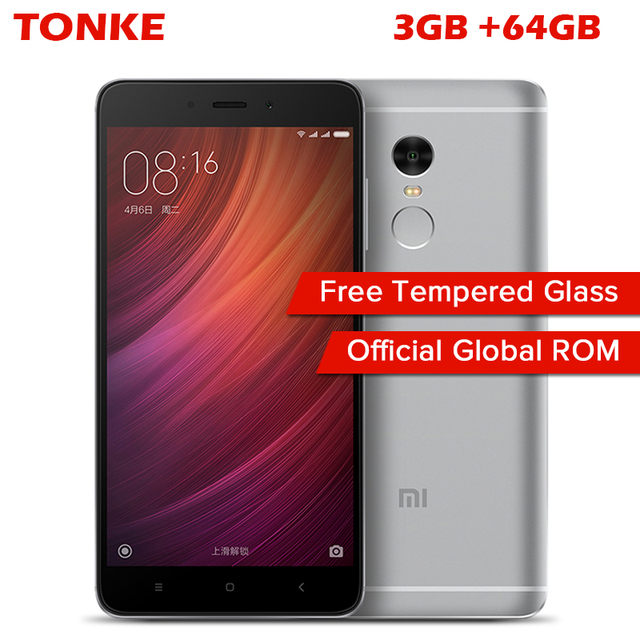 "Оригинал Xiaomi Redmi Note 4 3 ГБ RAM 64 ГБ ROM Мобильный Телефон MTK Helio X20 Дека Core 5.5 ""FHD 4100 мАч Отпечатков Пальцев ID 13MP Камера"