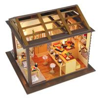 Gifts New Brand DIY Wooden Apanese Sushi Shop Dollhouse Kids Toy Furniture Miniature Crafts Without Dust Cover