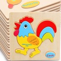 3pcs Wooden Animals Children Early Educational Toy Puzzle Cartoon Baby Children Kid's Toy Baby Learning 3D Puzzle