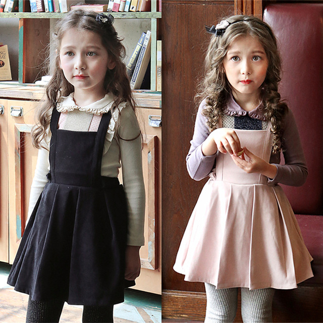 f92056bf03a Everweekend Girls Ruffles Halter Party Dress Princess Vintage Pink and  Black Color Cute Children Autumn Winter