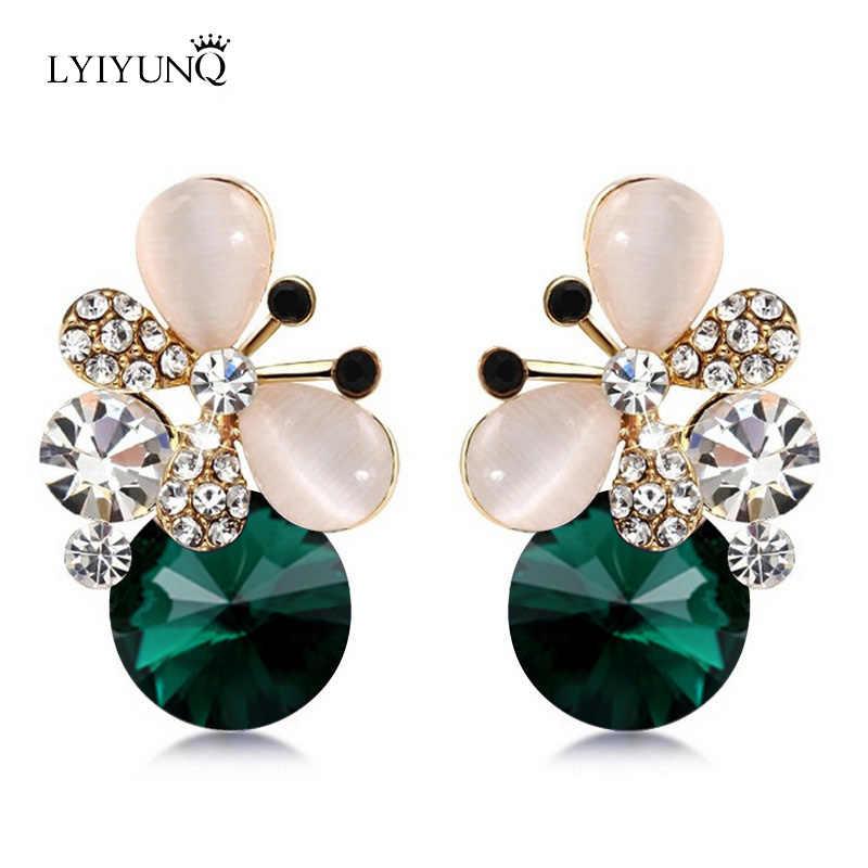 LYIYUNQ Europe and America Fashion Brincos Brand Jewelry Cute Rhinestone Butterfly Blue Earring Crystal Stud Earrings For Women