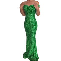 Sexy Green Sequined Maxi Dress Sexy Glitter Sequins Off The Shoulder Floor Length Party Dresses Retro