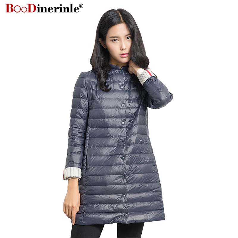 Winter Women's Lightweight   Down   Jacket Black Middle Warm Loose White Duck   Down     Coat   Female Plus Size Elegant Outwear Parka YR063