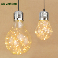 Creative personality pendant lights iron glass big bulb vintage lamp bar Russian warehouse large pendant lamps